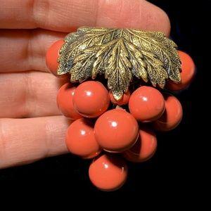 Vintage Coral Berry Grape Cluster Large Fur Clip